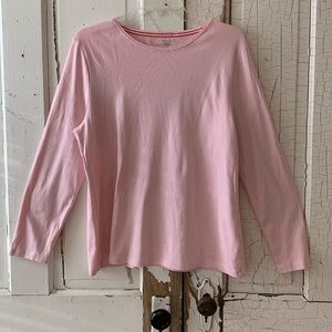 Talbots pale pink long sleeve tee Petite XL
